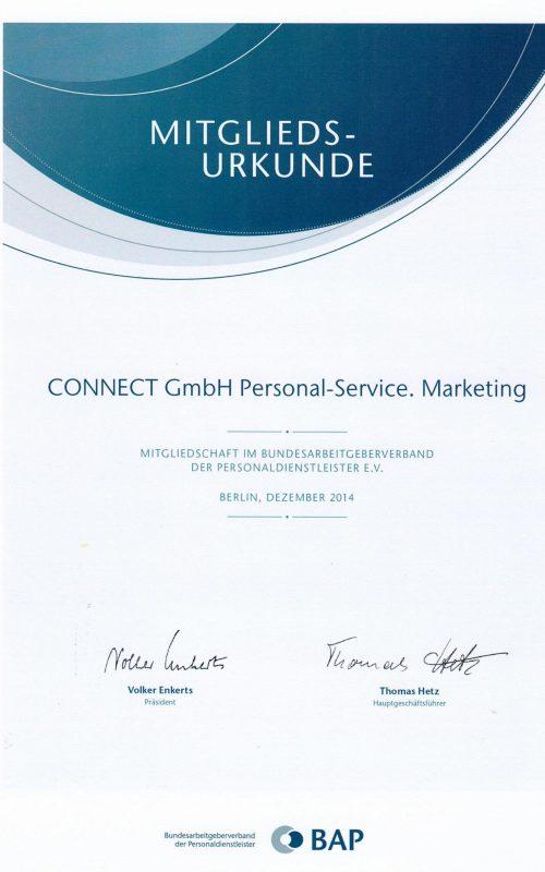 Mitgliedschaft im Bundesarbeitgeberverband der Personaldienstleister E.V.